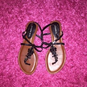 Gianni Bini Black Jewled Sandals